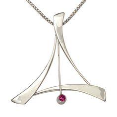 Ed Levin Pendant PE746 - TANGO - Sterling Silver with Rhodolite Garnet - Hawkins House Craftsmarket, Bennington, VT