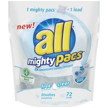 All Mighty Pacs 4X Concentrated Free Clear Laundry Detergent--I love these...no drips in the cabinet!