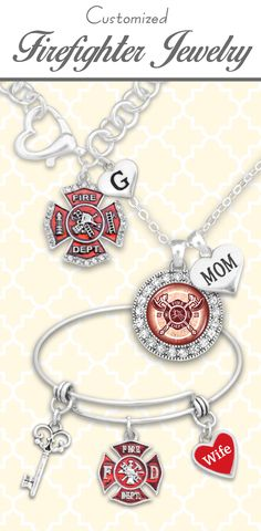 Firefighter jewelry with custom initials and loved ones! - $9.98! Support a firefighter you love!