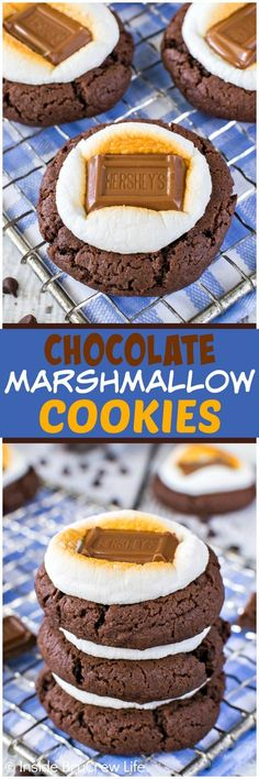 Easy Chocolate Marshmallow Cookies - toasted marshmallows and candy bars add a fun summer flair to these cookies. Great recipe for picnics or parties! (Baking Cookies And Shit) Chocolate Marshmallow Cookies, Toasted Marshmallow, Chocolate Cake Mixes, Chocolate Desserts, Chocolate Cheesecake, Homemade Chocolate, Yummy Cookies, Yummy Treats, Sweet Treats