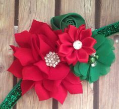 Christmas headband red and green headband от Heavenandhalos