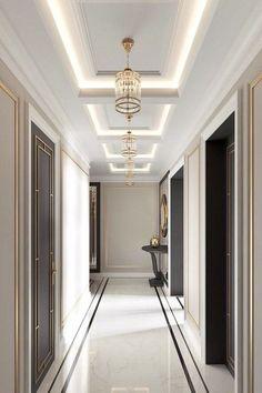 40 Astonishing Home Corridor Design For Your Home Inspiration 31 - grhaku House Ceiling Design, Ceiling Design Living Room, Home Room Design, Living Room Designs, House Design, Gypsum Ceiling Design, Flur Design, Plafond Design, Lobby Design