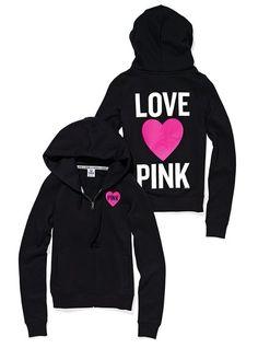 #Dreaming of a #VSPINK #Summer #LOVE #PINK #black #hooded #jacket #heart #white