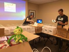 Our mascot Hope rests as our team works hard on packing bags for kids being visited during the Gamers Give Back Tour.