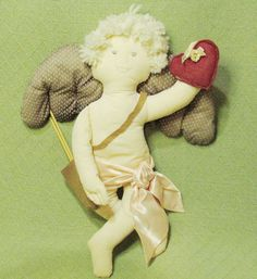 "20"" CUPID Valentine Angel plush Hand Crafted Arrows Wings Heart Embroidered"