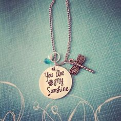 Necklace {You are my sunshine.Dragonfly} Your choice of color stone.