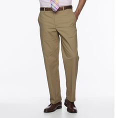 Men's Croft & Barrow® Easy-Care Stretch Classic-Fit Flat-Front Pants, Size: 38X29, Med Beige