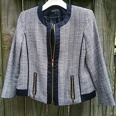 (NWOT) Jones New York Jacket Navy blue, grey and white tweed jacket with gold zippers, which still have the plastic on the pulls. New without the tags. Three quarter length sleeves. Jones New York Jackets & Coats Blazers
