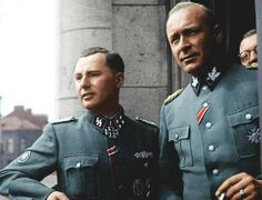 Belgian SS-Sturmbannführer Leon Degrelle and Generalleutnant Richard Jungclaus. With the fall of  Germany, Degrelle commandeered a Heinkel aircraft to reach FRANKIST (not fascist) Spain.  When pressed to extradite him, Franco's government handed over a look-alike. So Degrelle was condemned to death 'in absentia' while his wife and parents were imprisoned (his parents died in captivity), his children taken, renamed, separated and put into custody all over Europe. AND HIS BROTHER WAS KILLED.