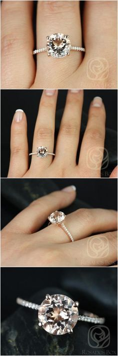 Eloise 9mm 14kt Rose Gold Round Morganite and Diamonds Cathedral Engagement Ring / http://www.deerpearlflowers.com/inexpensive-engagement-rings-under-1000/