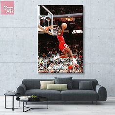 GoGoArt ROLL Canvas print wall art home picture photo huge big poster abstract modern (no framed no stretched not oil painting) Michael Jordan nba sport Chicago bulls dunk A-0029-1.5 (40 x 60 inch) * Check out the image by visiting the link. (This is an affiliate link) #WallArt