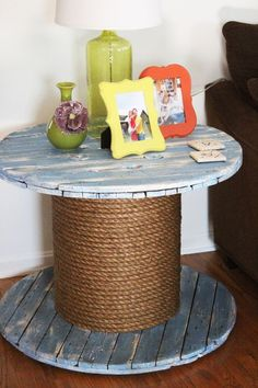 rustic shabby chic end table made from old wooden electrical wire spool by megan kleinhardt. Black Bedroom Furniture Sets. Home Design Ideas