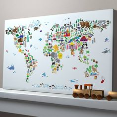 animal map of the world by artpause | notonthehighstreet.com