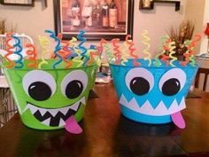 DIY Monster Party ice buckets for kiddie drinks! Little Monster Birthday, Monster 1st Birthdays, Monster Birthday Parties, Boy First Birthday, Birthday Fun, First Birthday Parties, First Birthdays, Daughter Birthday, Birthday Ideas