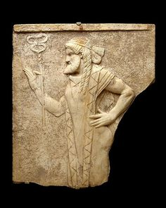 Marble relief depiciting the messenger god Hermes holding Etruscan rod of authority C.200BC. Posted by Artur Uskumantur
