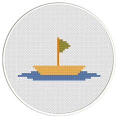 FREE for March 27th 2016 Only - Boat With Flag Cross Stitch Pattern
