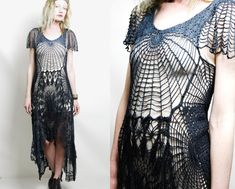 Crochet Dress VINTAGE LACE Black Cobweb SPIDERWEB Long Fishtail Bohemian Cotton Gothic Handmade ooak Size xs s m