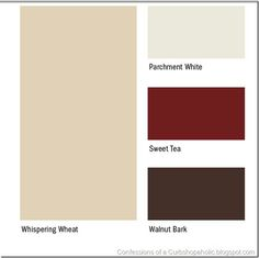 OMG love Whispering Wheat for hallway. Maybe Sweet Teat in the living room with a Walnut Bark accent wall? Not sure I can commit to Parchment White for trim and ceilings. Just looks a little dingy.