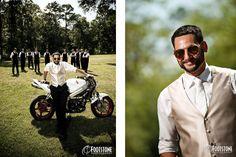 groom and groomsmen with motorcycle