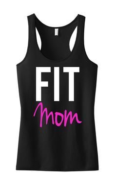 FIT MOM Workout Tank Racerback Black with Pink, Gym Tank Top, workout tank top, fitness clothing, workout shirt, gym tank, clothing,tank top...