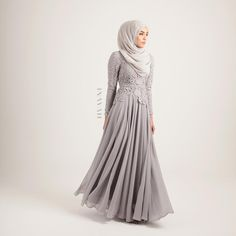 INAYAH   Our popular Grey Maya Evening Gown is back in stock; exude class and feminity in our regal, elegant evening gowns. - Grey Maya #Evening #Gown + Grey Maya #Hijab - www.inayah.co