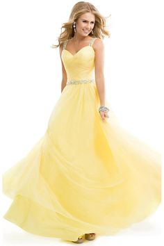 "Start out searching for your perfect long maxi one shoulder yellow prom dress by flipping through magazines and online to see what kind of dress you are most attracted to. Then hit the stores with an idea in mind of what you are looking for. Try on as many dresses as you can; your idea of the ""perfect dress"" may not be as well suited for you as another style. Don't limit yourself."