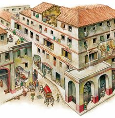 In ancient Greek and Roman cities, whole blocks of housing were built up to five or six stories high. Ancient Roman Houses, Ancient Rome, Ancient Greece, Ancient Greek City, Greek History, Roman History, Ancient History, Roman Architecture, Ancient Greek Architecture