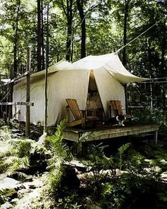 Would love to have this simple tent cabin on a creek in the back of my dream 10 acres of land.