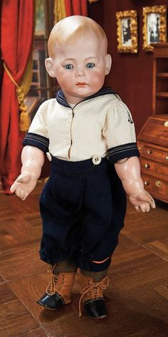 """Very Rare and Captivating German Bisque Character """"Fany"""" by Marseille cm.) Marks:Fany 230 A 7 M Old Dolls, Antique Dolls, Vintage Dolls, Sailor Outfits, Boy Outfits, Dolly World, German Boys, Kewpie, Boy Doll"""