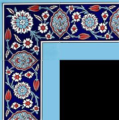 Taç ve Bordürler Islamic Patterns, Textile Patterns, Embroidery Patterns, Stained Glass Mirror, Glass Wall Art, Border Pattern, Pattern Art, Islamic Tiles, Arabic Pattern