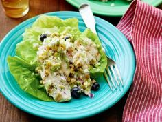 Summer Chicken Salad from Pioneer woman with corn, blueberries, dill and feta dressing