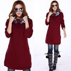 plus size fashions for winter 2013 | 2013 plus size fashion winter thick loose casual long sweatshirt ...