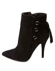 Anne Michelle Lace-Up Back High Heel Booties: Charlotte Russe