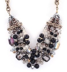 Capri Necklace in Black Diamond Agate and Crystal on Emma Stine Limited