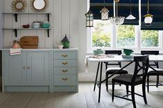 Kitchen Colour Schemes, Room Color Schemes, Kitchen Colors, Kitchen Units, Open Plan Kitchen, Kitchen Ideas, Kitchen Inspiration, Colour Inspiration, Duck Egg Blue Kitchen