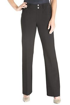 """Rekucci Women's """"Ease In To Comfort Fit"""" Stretch Slight Bootcut Career Pant Made in Canada No zipper, No snaps, Faux front fly Faux front pockets and belt loops Pull-on closure, extended waist band with button detail Easy care, Machine wash Casual Work Dresses, Dresses For Work, Work Pants, Women's Pants, Pantsuits For Women, Pants Pattern, Straight Leg Pants, Work Wear, Pants For Women"""