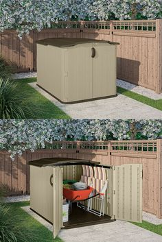 Low Height Shed - Suncast Glidetop Shed - Quality Plastic Sheds Fence Ideas, Yard Ideas, Plastic Sheds, Backyard Storage, Storage Sheds, House Front, The Great Outdoors, Paradise, Gardening