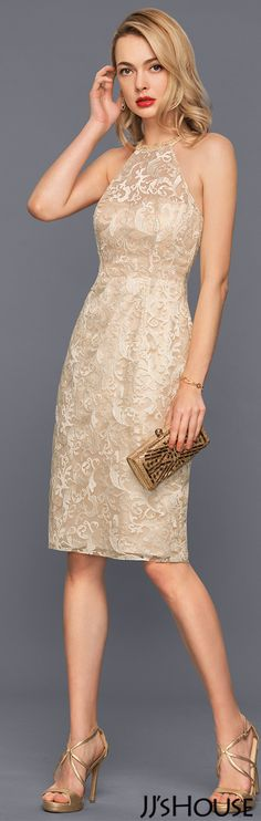 Sheath/Column Scoop Neck Knee-Length Lace Cocktail Dress With Beading Sequins#JJsHouse #Cocktail dresses