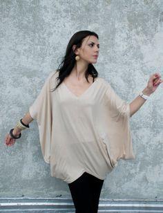 Oversize Asymmetric Tunic/ Short Kaftan Blouse  by marcellamoda, $55.00