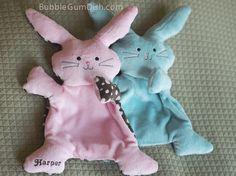 Bunny Rabbit Pink Plush Softie Flat Little Bunny by BubbleGumDish.com