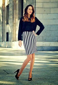 look lady con falda lapiz