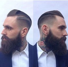 Ricki Hall with a fresh trim - full thick dark beard beards bearded man men mens' style tattoos tattooed hairstyle hair cut barber handsome Trendy Haircut, Fade Haircut, Haircut Men, Haircut Style, Style Hipster, Hipster Man, Ricki Hall, Hair And Beard Styles, Hair Styles