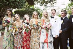 //\\ A beautiful bride in BHLDN (next to the handsome groom in white jacket) and her lovely maids.
