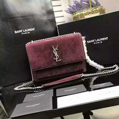 2017 S/S Saint Laurent Medium Sunset Monogram Bag in Suede Leather