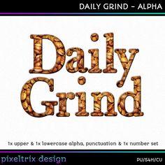 Digital Scrapbooking Alphabet DAILY GRIND by PixeltrixDesign