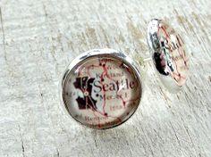 Seattle map stud earrings. Glass cabochon picture by EvasJewellery, $10.99... so cute!!!!
