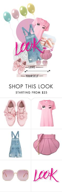 """""""look"""" by silver-sun ❤ liked on Polyvore featuring Puma, Chiara Ferragni, Boutique Moschino, Elie Saab, NYX and oversizedsunglasses"""