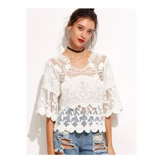 SheIn(sheinside) White Lace Embroidered Semi Sheer Blouse (£18) ❤ liked on Polyvore featuring tops, blouses, white, lace tops, embroidered blouse, v neck blouse, lace sleeve top and white v neck blouse