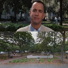 """10 Famous Film Locations Revisited in Google Street View - including the famous bench scene from """"Forrest Gump"""" filmed in Savannah, GA Places In Usa, Famous Places, Places To Go, Savannah Georgia, Savannah Chat, Georgia Girls, Tybee Island, Forrest Gump, Filming Locations"""