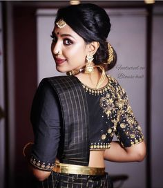 Top 30 Latest And Trendy Blouse Designs For Back Neck Blouse Back Neck Designs, Black Blouse Designs, Wedding Saree Blouse Designs, Stylish Blouse Design, Designer Blouse Patterns, Work Blouse, Saris, Silk Sarees, Black Saree Blouse